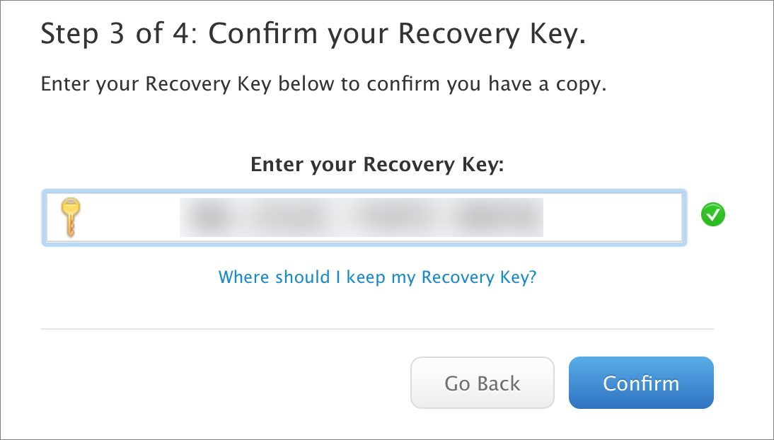 confirm your recovery key