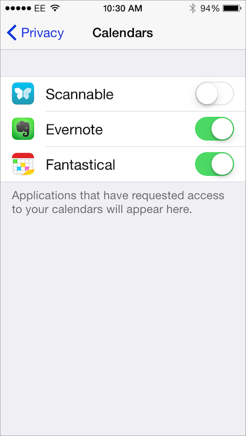 iPhone Calendars privacy
