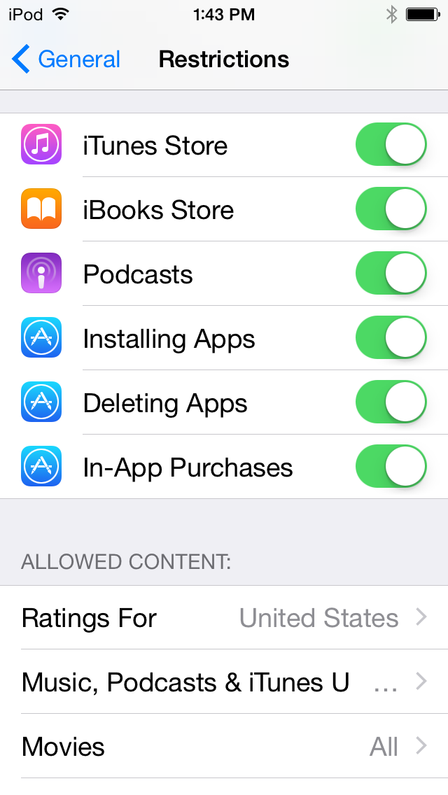 Ios 8 restrictions parental controls overview for parents the mac setting filters for content ratings ccuart Images