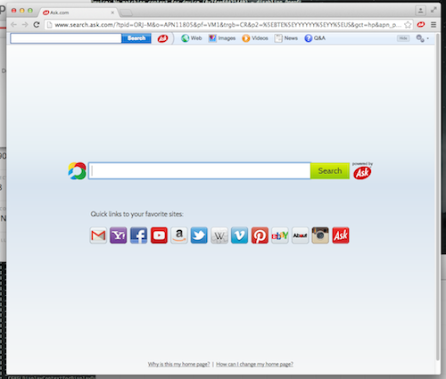 Chrome with Ask Toolbar