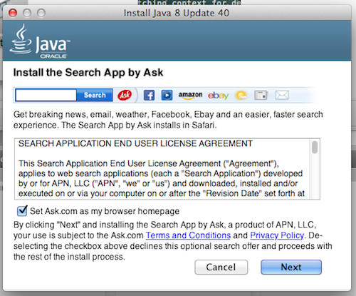 Safari browser install the Java 8 Update 40 options | The Mac
