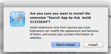 "Safari extension install ""Search App by Ask"" instal warning"