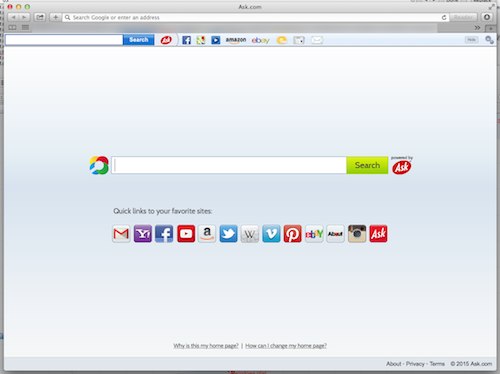 Safari web browser with Ask toolbar installed