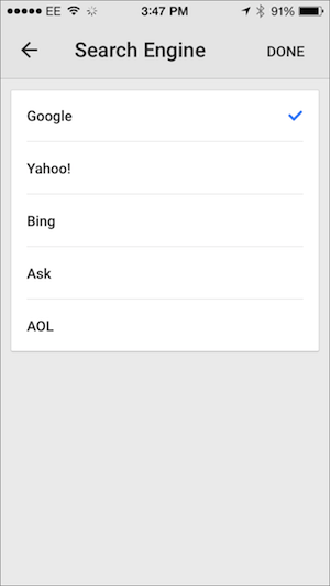 Google Chrome iOS search engine settings