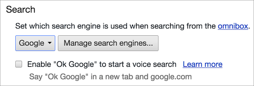 Google Chrome search engine OS X