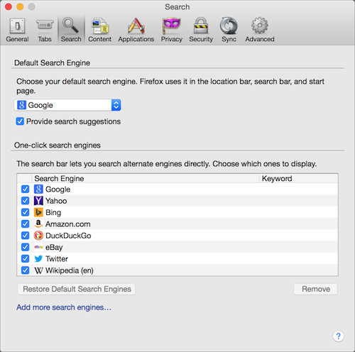 Firefox default search engine OS X