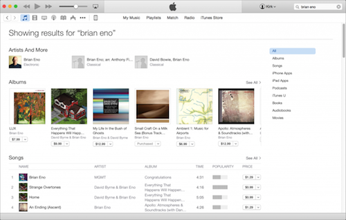iTunes Store search results