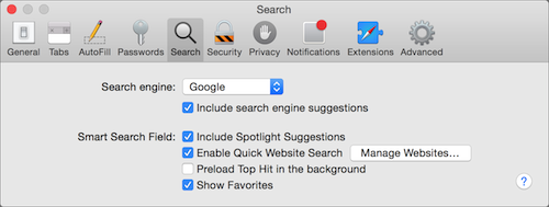 Safari Search Engine OS X