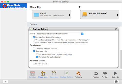 Intego Personal Backup image of backup options