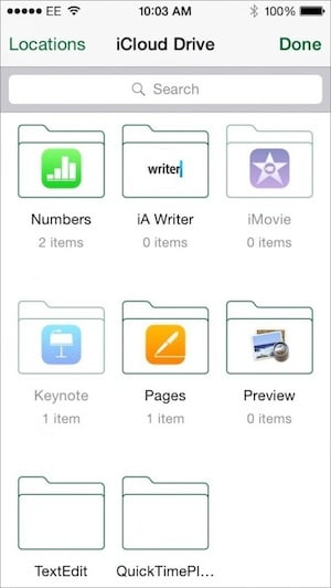 Photo of iCloud Drive document picker on iOS