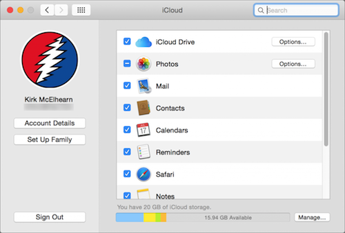 Photo of iCloud Preferences in OS X