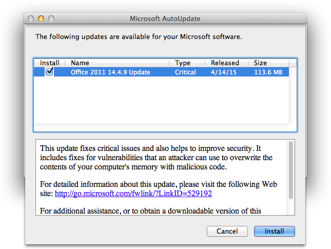 Office 2011 14.4.9 update notice image