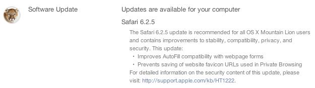 Safari 6.2.5 update image