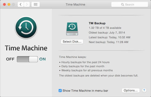 Backing up media files with Time Machine image