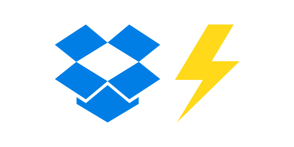 Dropbox logo next to image of lightning power