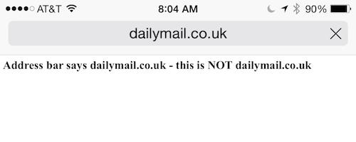 Screenshot of Safari address-spoof exploit on iPhone 6 Plus