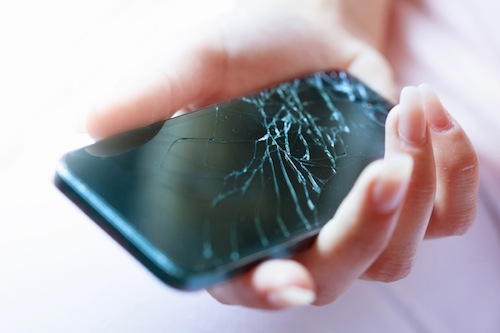 Image of a broken, cracked smartphone