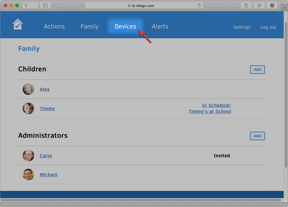 Screenshot of Family Protector Web Admin with arrow pointing to the Devices section button.