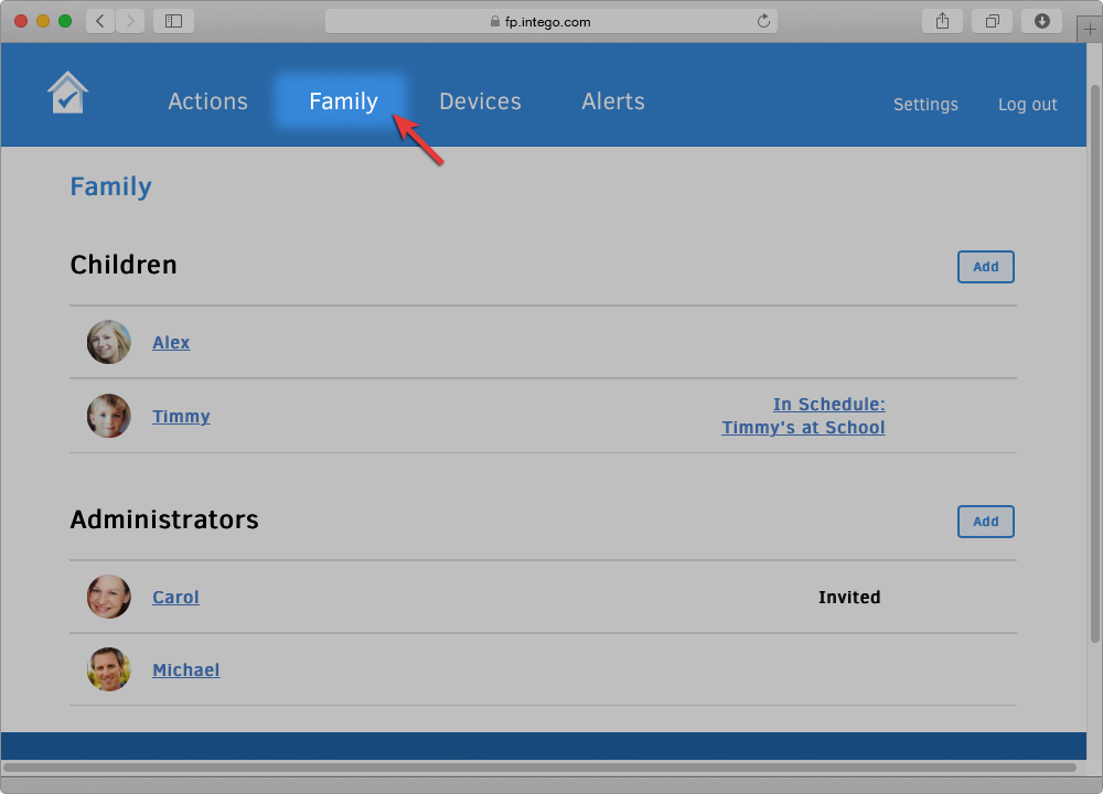 Screenshot of Family Protector Web Admin with arrow pointing to the Family section button.