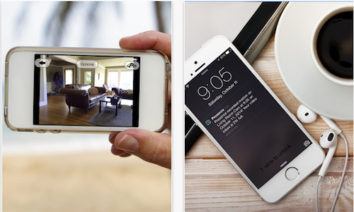 Screenshots of Presence app for home security surveillance on iPhone