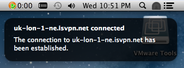 Connected to VPN service has been established