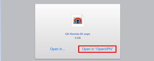 Download OpenVPN and select Open in OpenVPN
