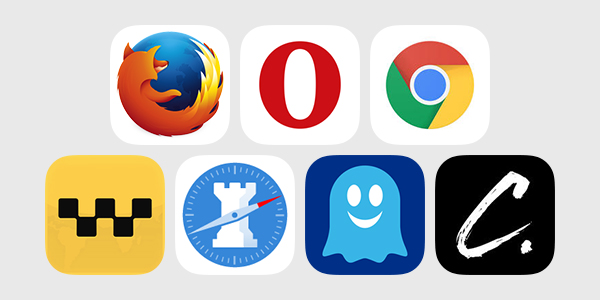 iOS Web browser logos: Firefox Opera Chrome iCab Mobile Ghostery Rook