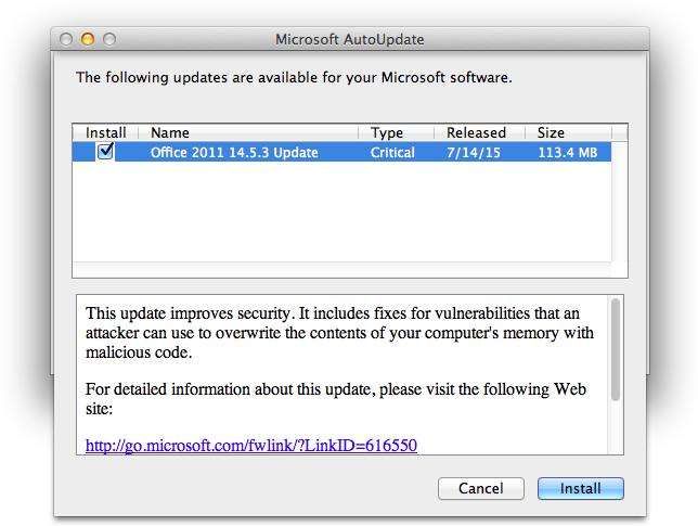 Microsoft Office 2011 14.5.3 Update Notice