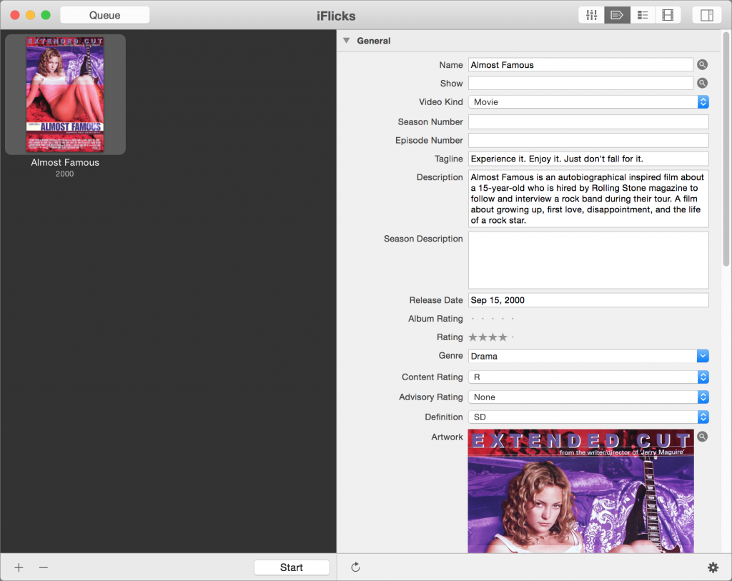 Search for metadata and artwork for movies with iFlicks