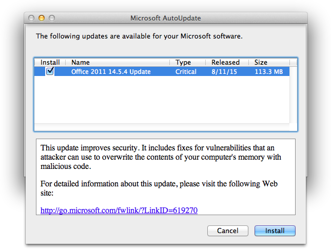 Microsoft Office for Mac 2011 14 5 4 Update Patches Multiple
