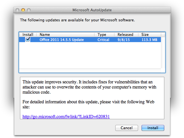Office 2011 14.5.5 Update