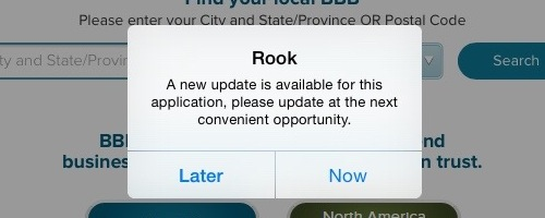 Rook update notice