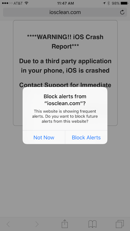iOS Crash Report scam - iOS 9 block feature