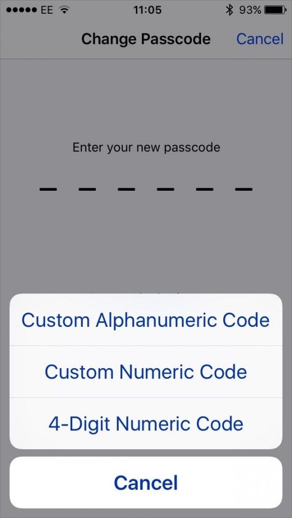 Passcode options in iOS 9