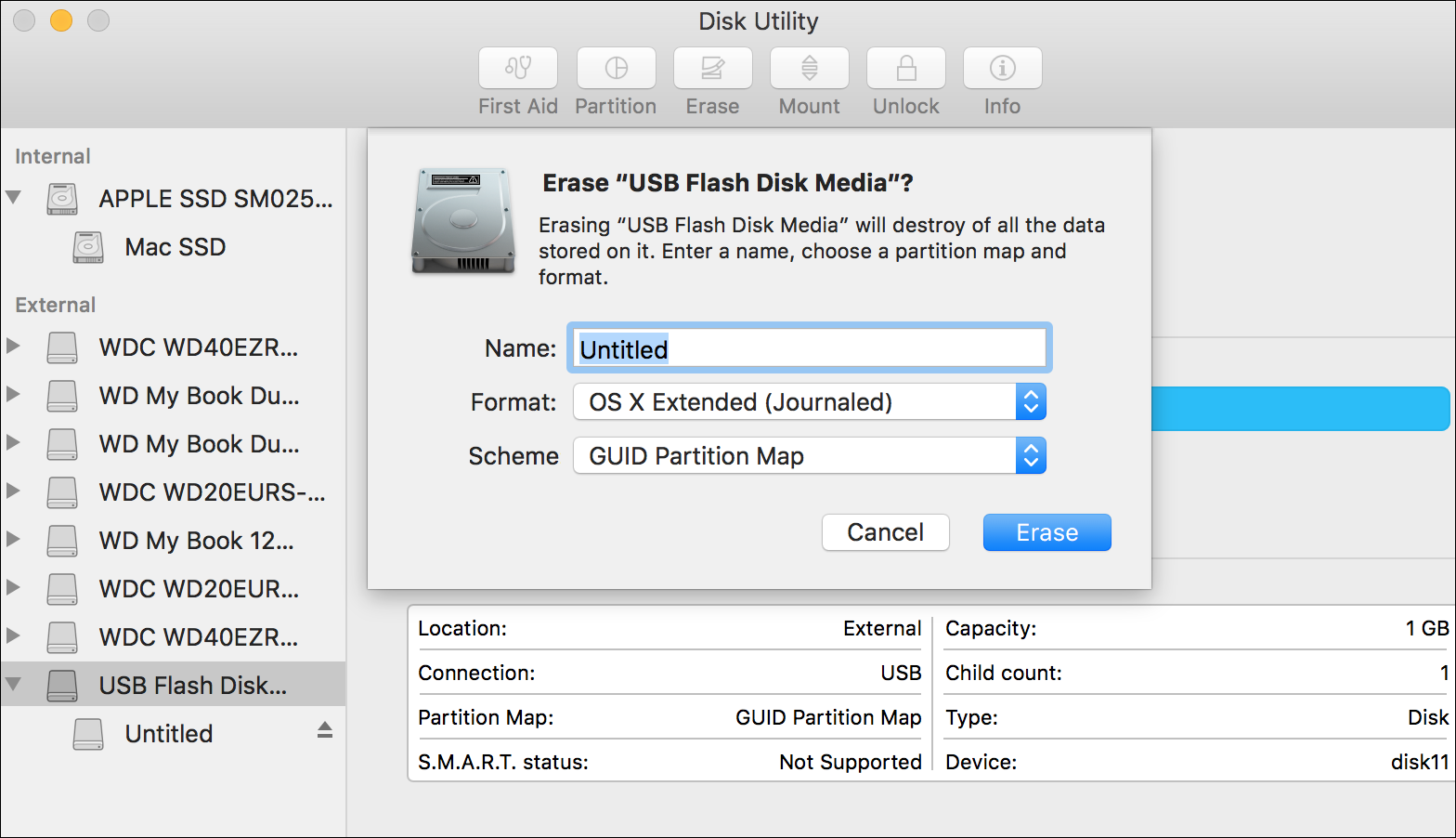 Choose Os X Extended (journaled) For The Format, And, For The Scheme,  Choose Guid Partition Map You Could Also Choose Msdos As The Format, If  You Want To