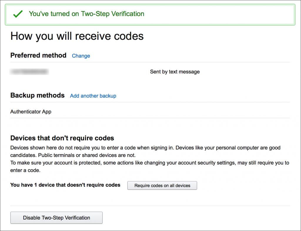 two-step verification turned on confirmation