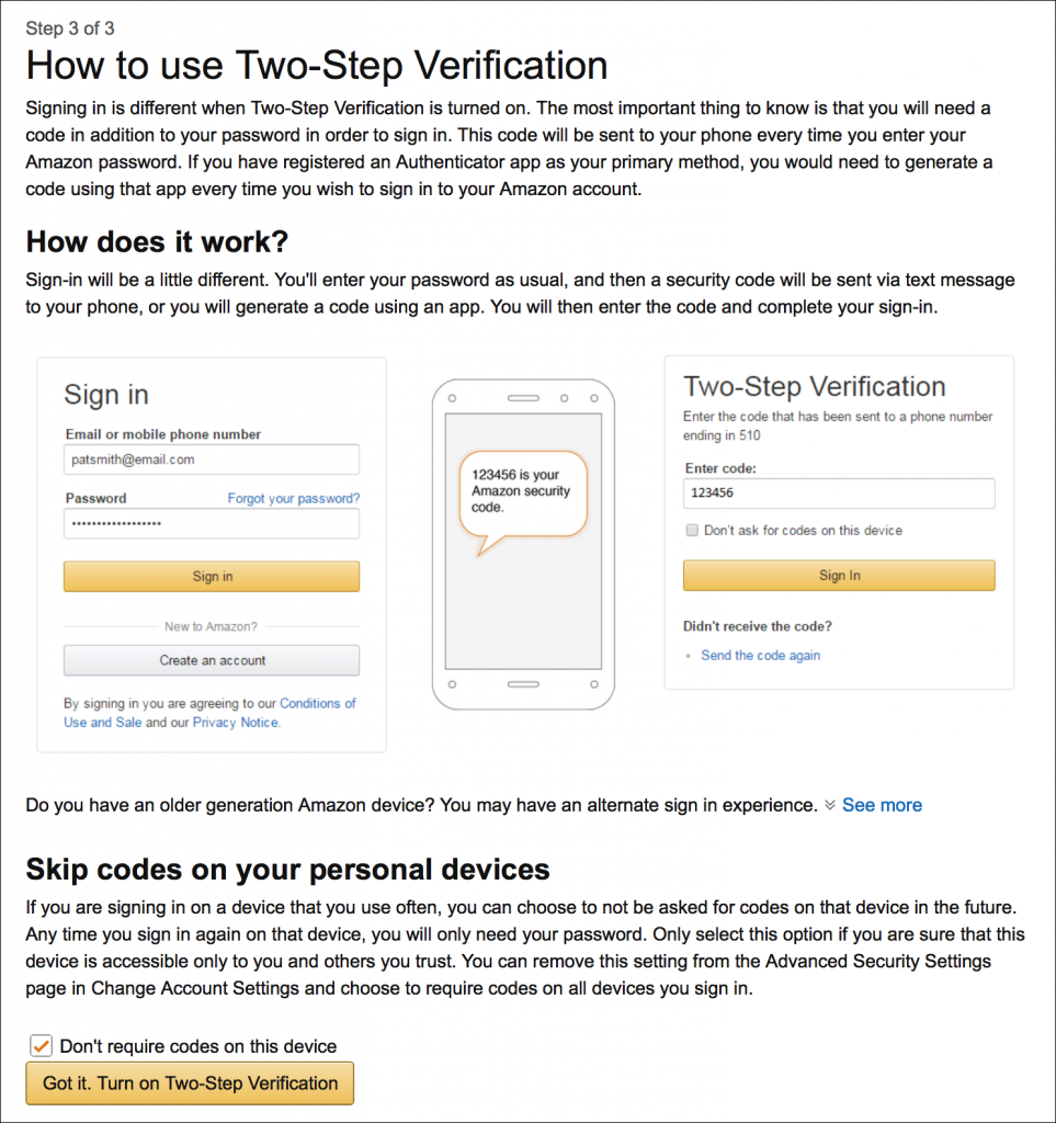 how-to-use Amazon two-step verification