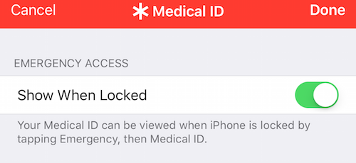 "Medical ID ""Show When Locked"" emergency access"