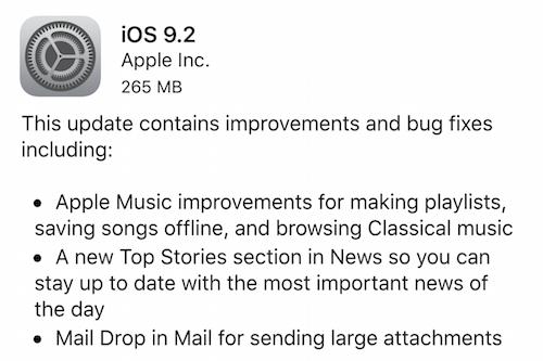 iOS 9.2 Security Update