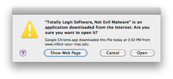 Apple Quarantine Warning Dialog Box