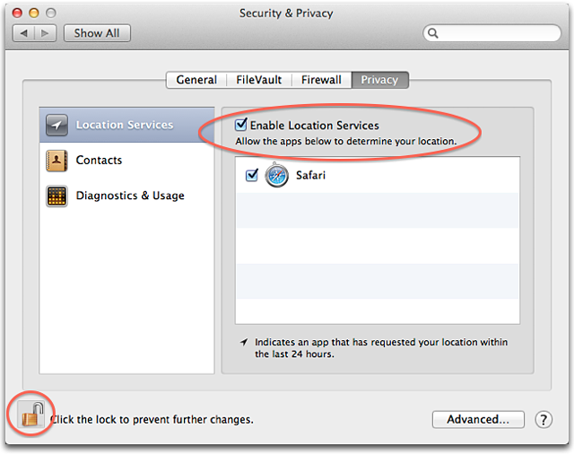 OS X Mountain Lion Location Services