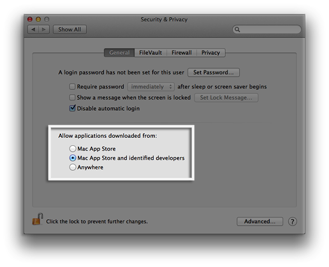 OS X Mountain Lion Security & Privacy preferences options
