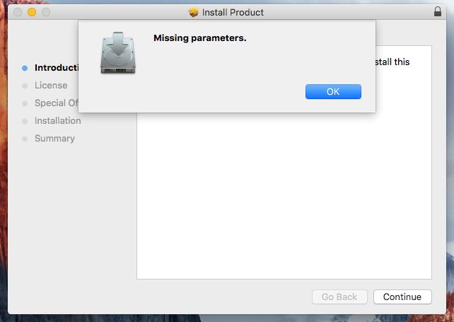 Installer Missing parameters
