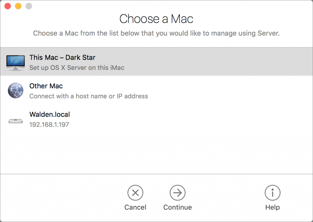 Choose Mac to manage using Server