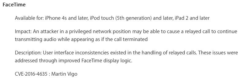 FaceTime Vulnerability CVE-2016-4635