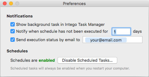 Intego Personal backup Preferences