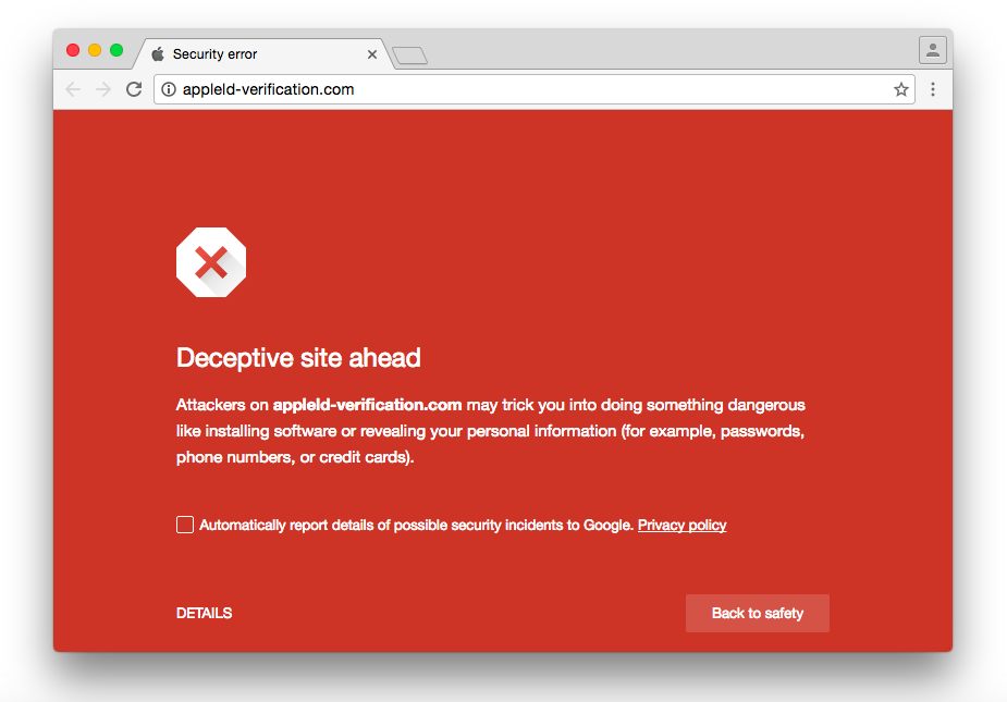 appleid-verification phishing site Google Chrome browser
