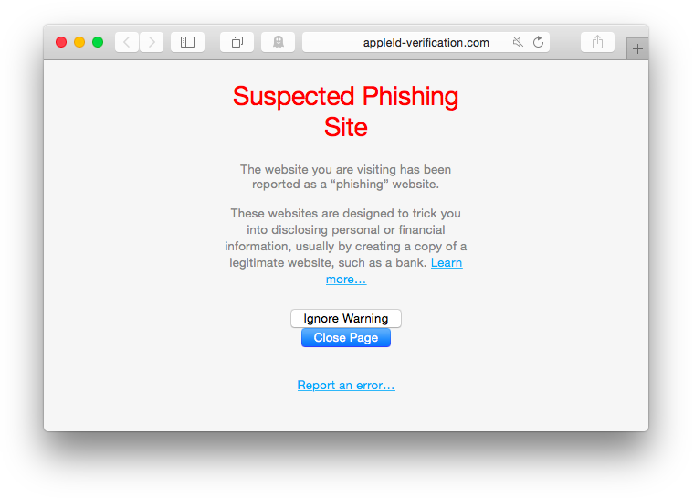 appleid-verification Phishing site Safari browser