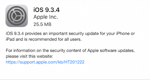 iOS 9.3.4 Security Update