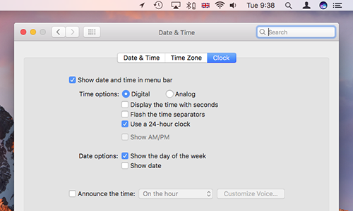 Mac menu bar extras date and time